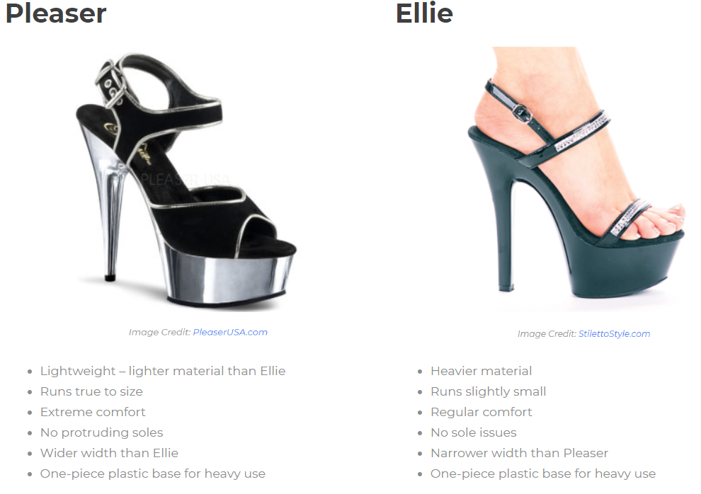 A comparison image of pleaser vs ellie heels