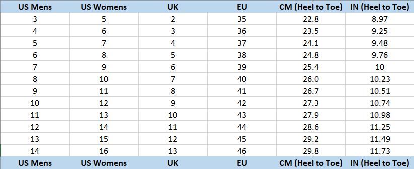 Pleaser Heel Size Chart